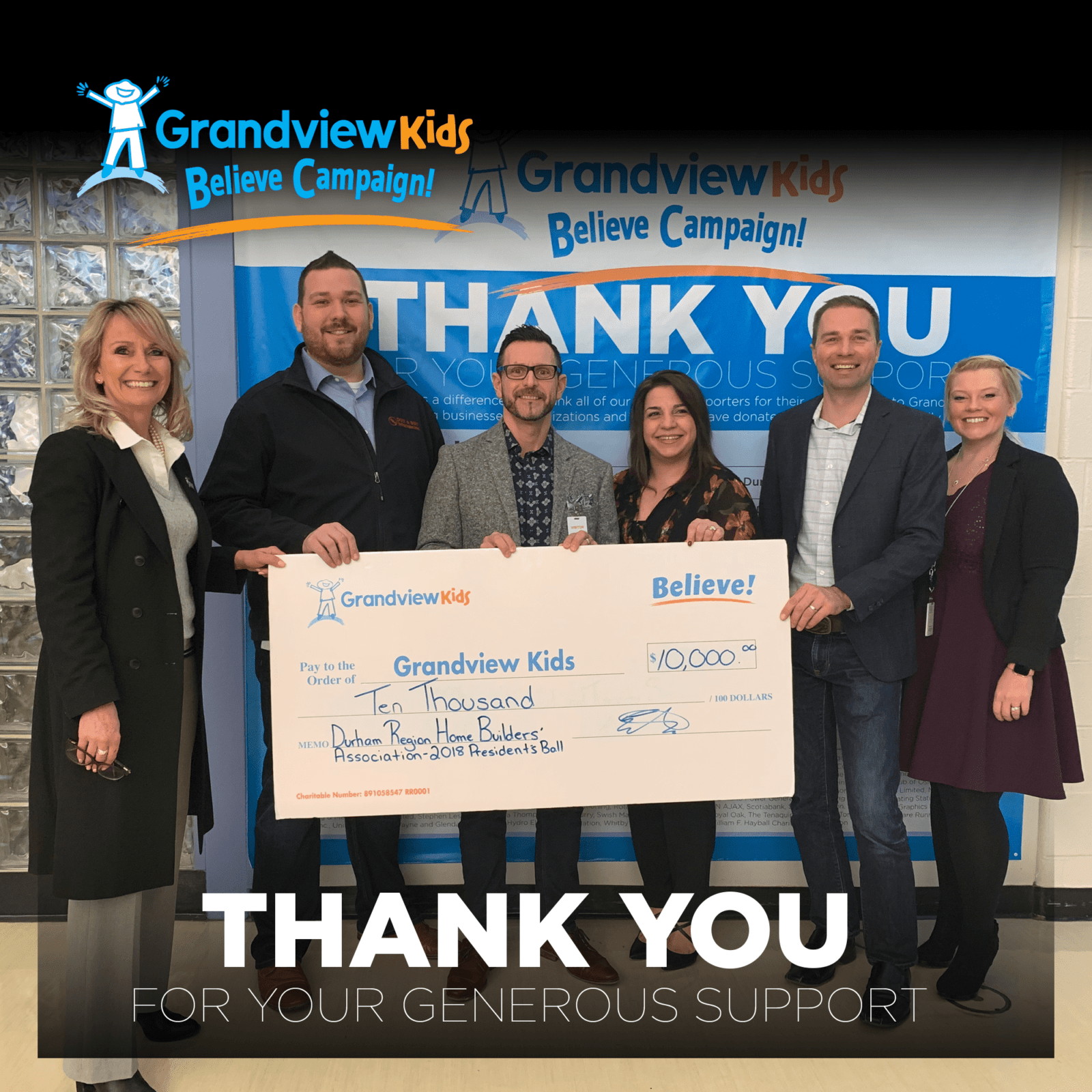 Durham Region Home Builders Association selected Grandview Kids as their charity of choice